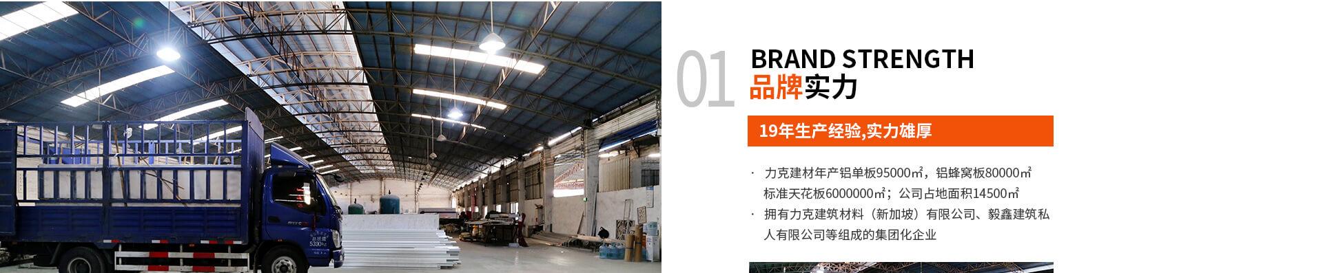 01 BRAND STRENGTH 品牌实力 19年生产经验,实力雄厚 ·   力克建材年产铝单板95000㎡,铝蜂窝板80000㎡                标准天花板6000000㎡;公司占地面积14500㎡           ·   拥有力克建筑材料(新加坡)有限公司、毅鑫建筑私                人有限公司等组成的集团化企业